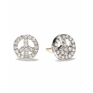 NWT Juicy Couture Peace Sign Pave Stud Earrings